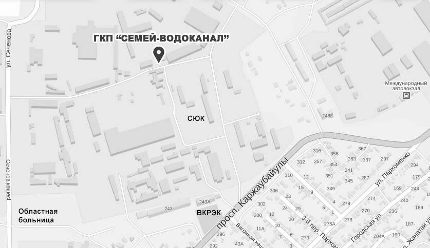 Схема проезда в ГКП Семей Водоканал